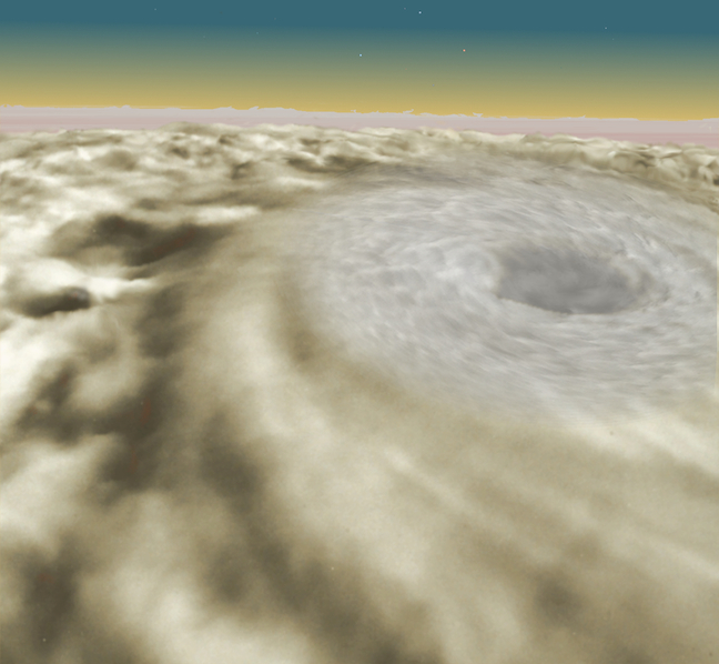 Overhead view of the mighty hurricane that swept up Na and Ki, with the horizon and a golden haze layer visible in the distance