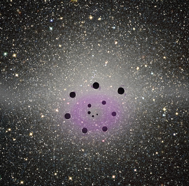 A spiraling configuration of black holes encountered by Na, Nemo and Ulixis after they entered the galactic core, with the glowing galaxy center as a backdrop