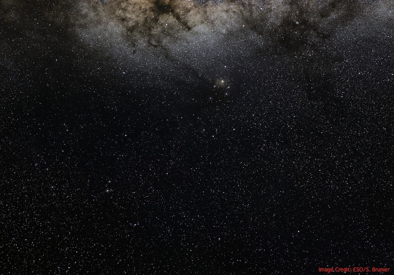 A portion of the star-filled sky, including a rich section of the central Milky Way, seen by Na and his companions after leaving the solar system